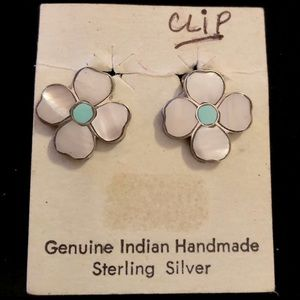 Native American Sterling MOP & Turquoise Earrings